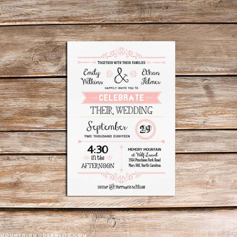 Rustic Wedding Invites Templates Elegant Vintage Rustic Diy Wedding Invitation Template