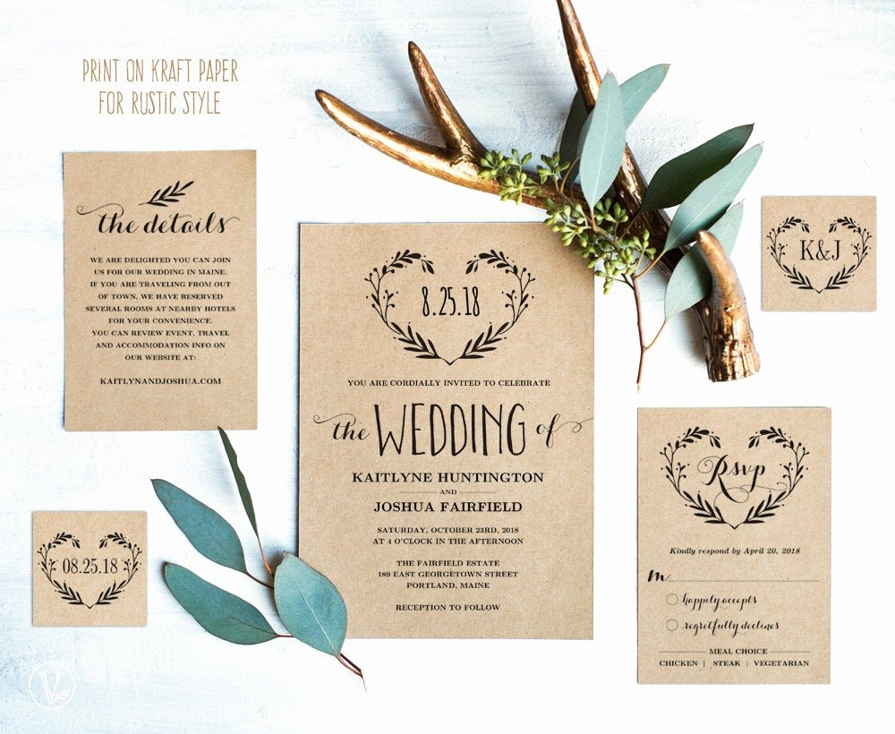 Rustic Wedding Invites Templates Fresh Rustic Wedding Invitation Template Printable Wedding