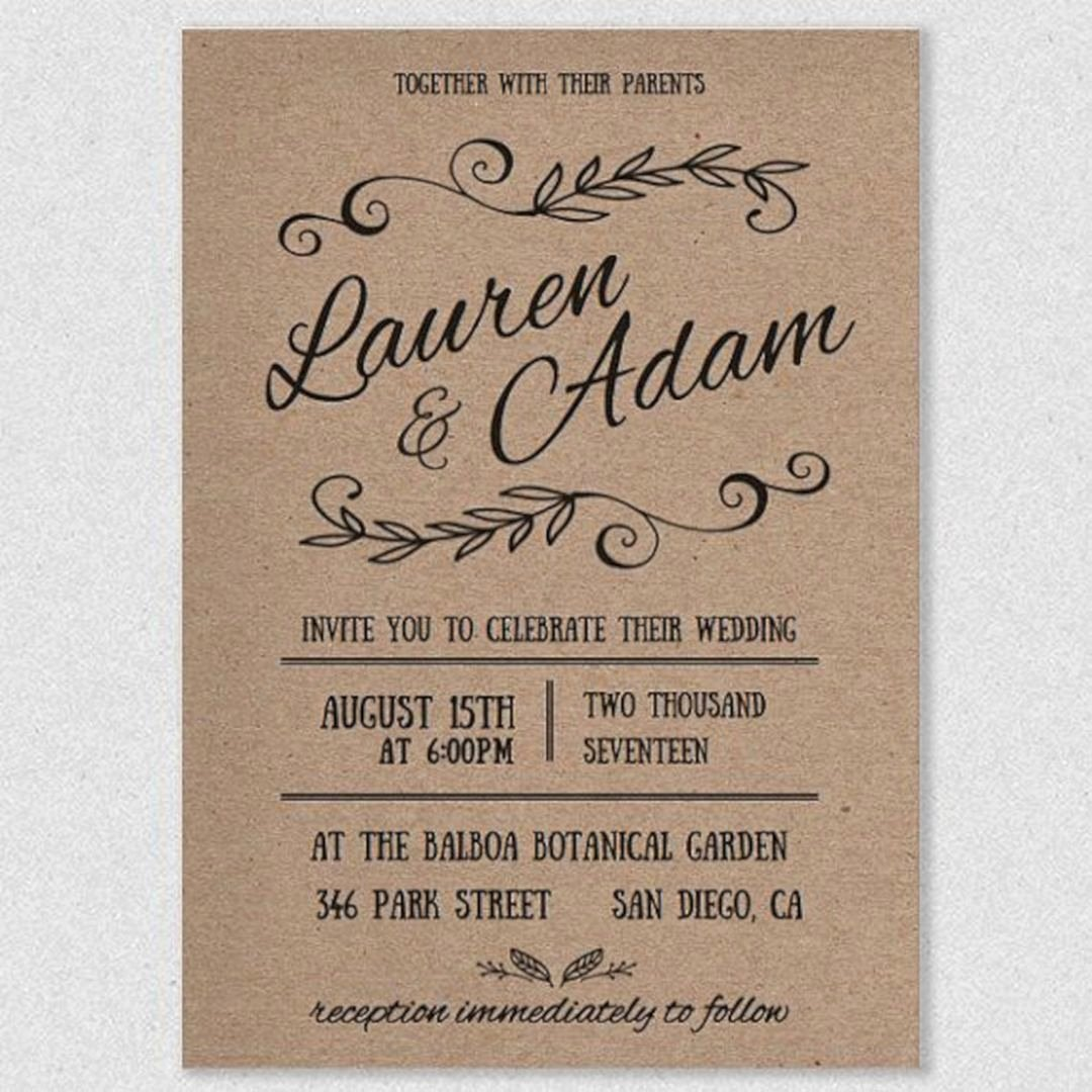 Rustic Wedding Invites Templates Inspirational Rustic Wedding Invitations Template 28 – Oosile
