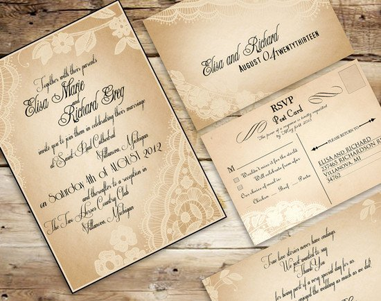 Rustic Wedding Invites Templates Inspirational Vintage Wedding Invitations Set the tone for A Timeless Wedding