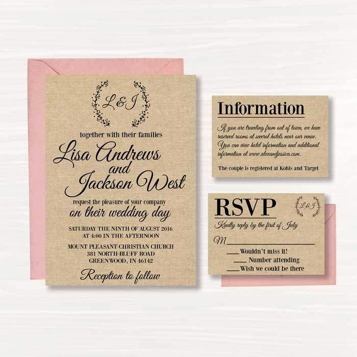 Rustic Wedding Invites Templates Lovely Free Printable Line Wedding Invitations Templates …