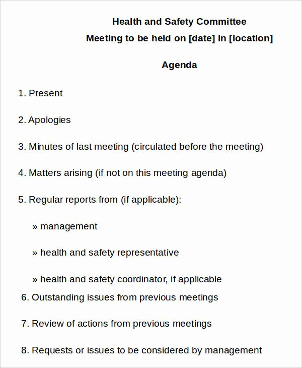 Safety Meeting Minutes Template Awesome 10 Safety Agenda Templates Free Sample Example format