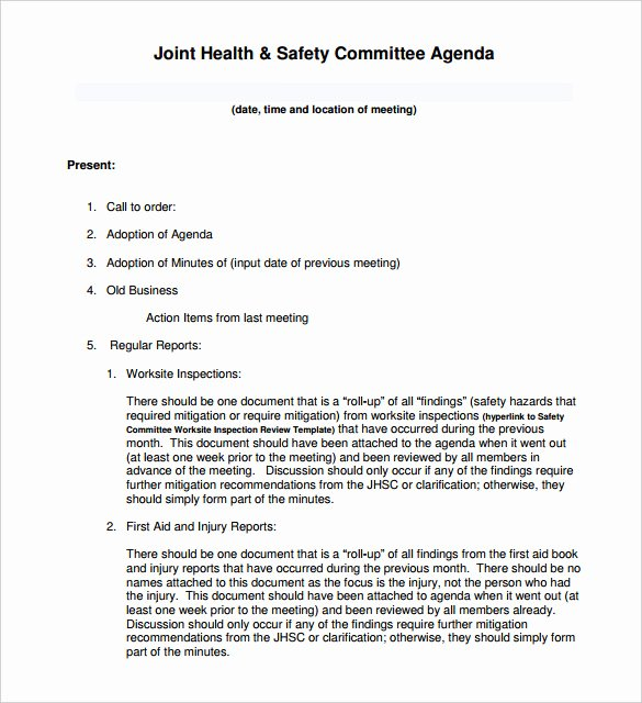 Safety Meeting Minutes Template Awesome 51 Meeting Agenda Templates Pdf Doc