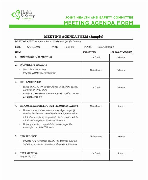 Safety Meeting Minutes Template Beautiful Safety Agenda Templates 10 Free Sample Example format