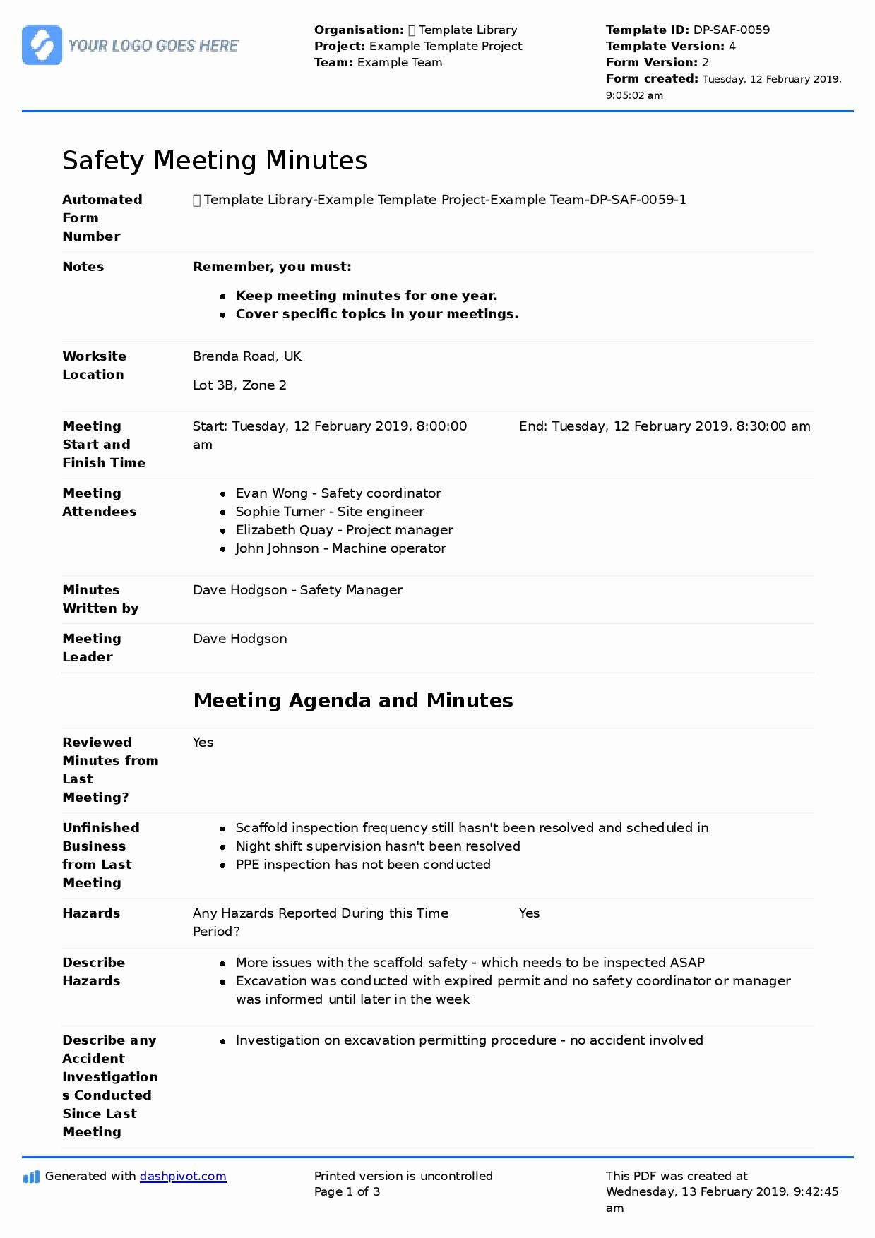 Safety Meeting Minutes Template Beautiful Safety Mittee Meeting Agenda and Minutes Template Use