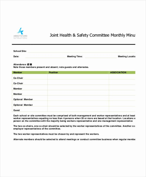 Safety Meeting Minutes Template Fresh Safety Meeting Minutes Template 12 Free Sample Example