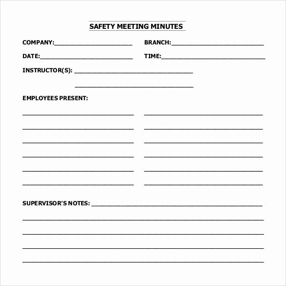 Safety Meeting Minutes Template Lovely Free 44 Sample Meeting Minutes Templates In Google Docs