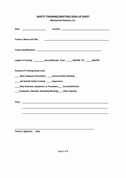 Safety Meeting Sign In Sheet Inspirational 22 Meeting Sign In Sheets Free to In Pdf