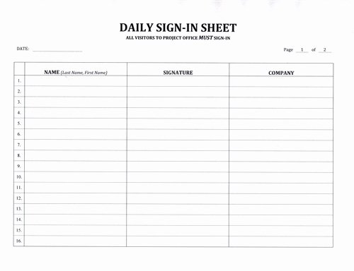 Safety Meeting Sign In Sheet Lovely Contractor S Daily Sign In Sheet $7 99 Download now