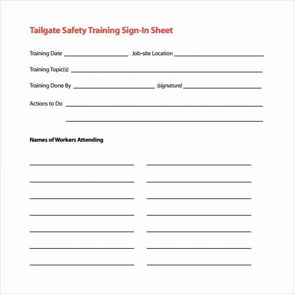 Safety Meeting Sign In Sheet Unique Sample Training Sign In Sheet 13 Examples & format