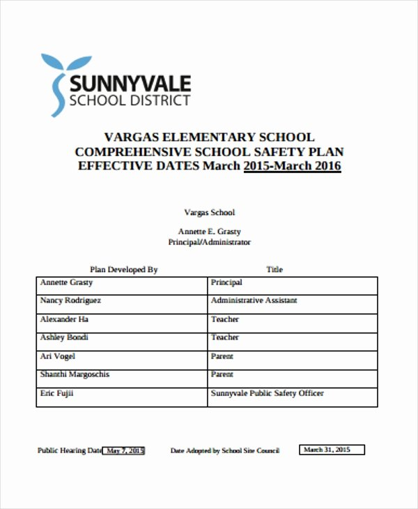 Safety Plan Template for Students Elegant 35 Safety Plan formats Word Docs Pdf