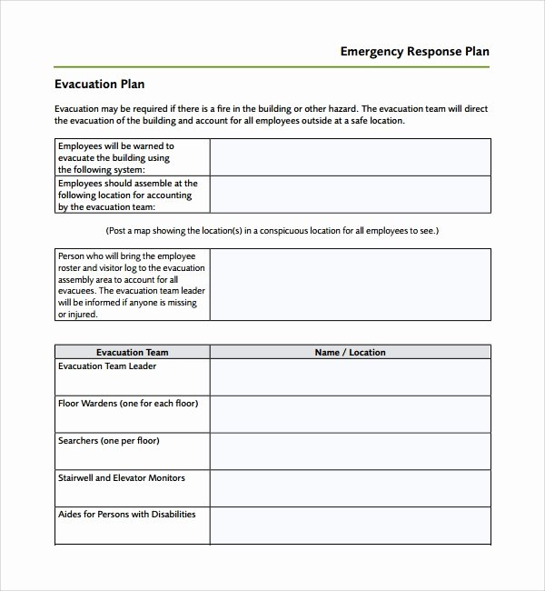 Safety Plan Template for Students Fresh Sample Emergency Response Plan Template 9 Free