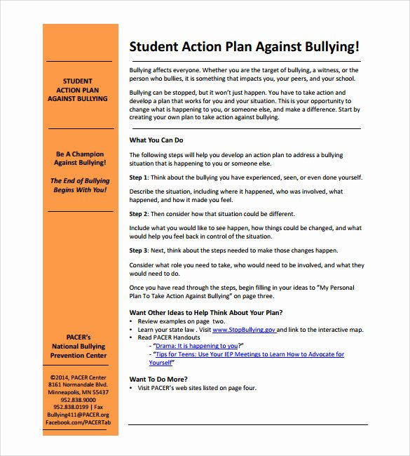 Safety Plan Template for Students Lovely Sample Student Action Plan 7 Documents In Pdf