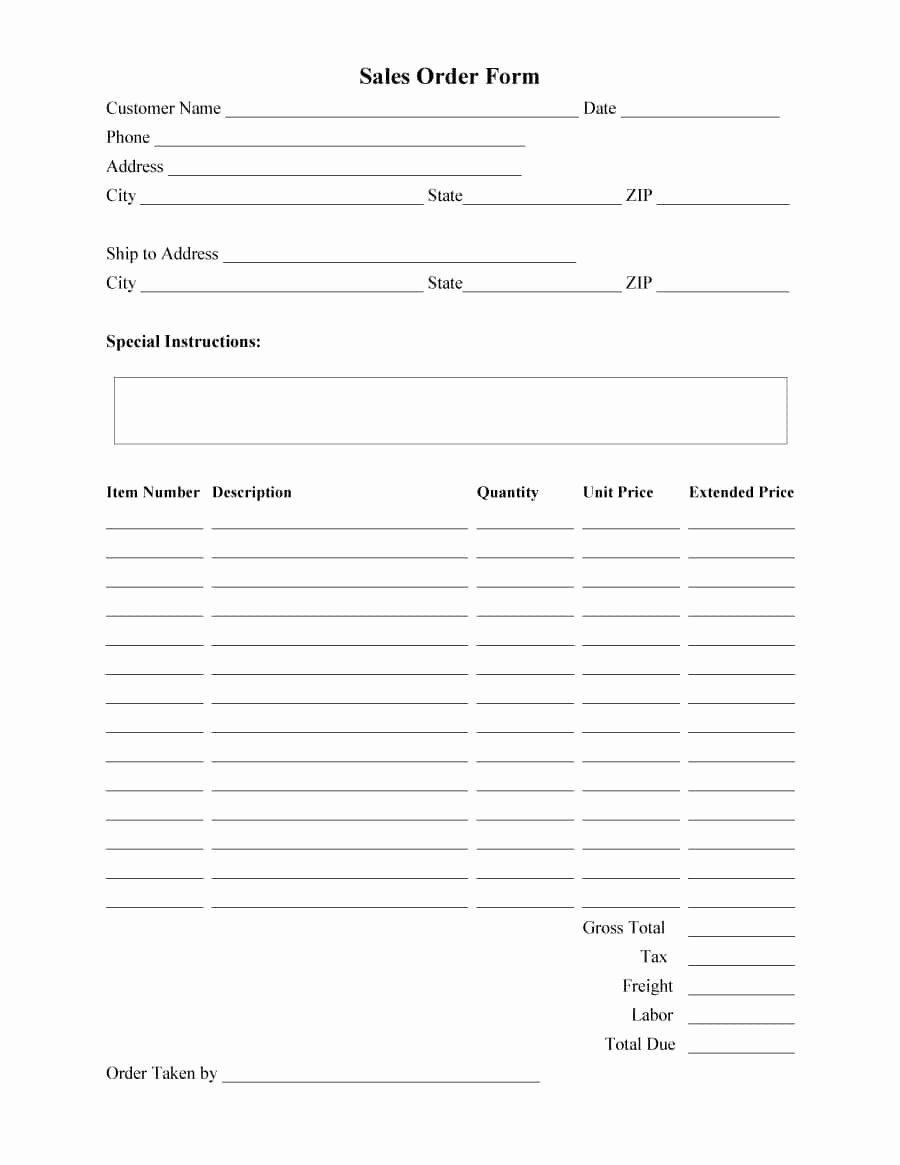 Sale order form Template Beautiful 40 order form Templates [work order Change order More]