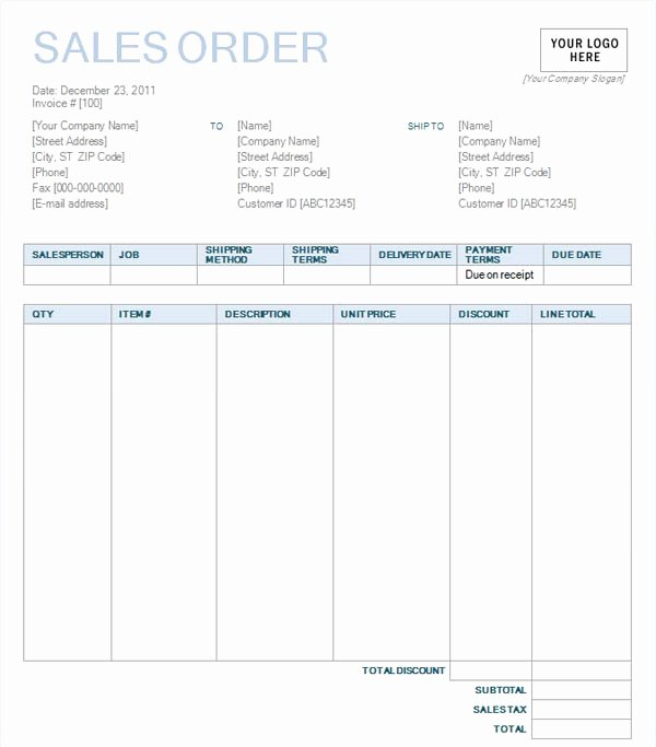 Sale order form Template Beautiful Sales order with Blue Background Design