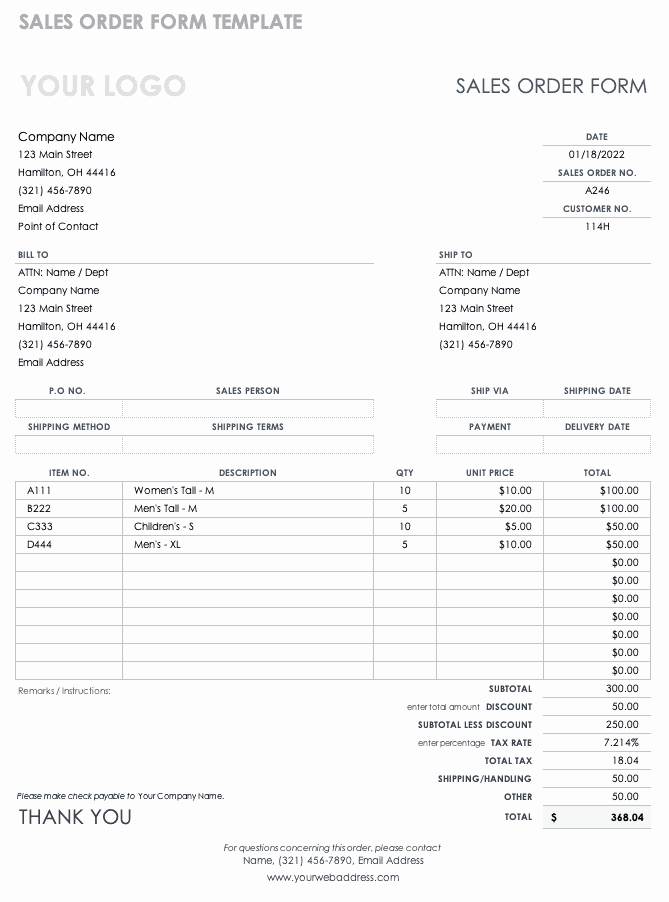 Sale order form Template Unique Free order form Templates