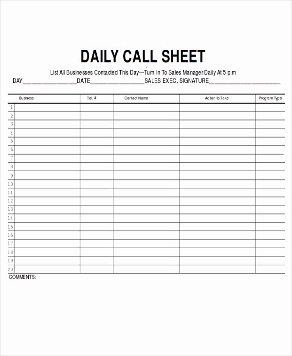 Sales Call Log Template Awesome 11 Sales Sheet Templates Free Sample Example format