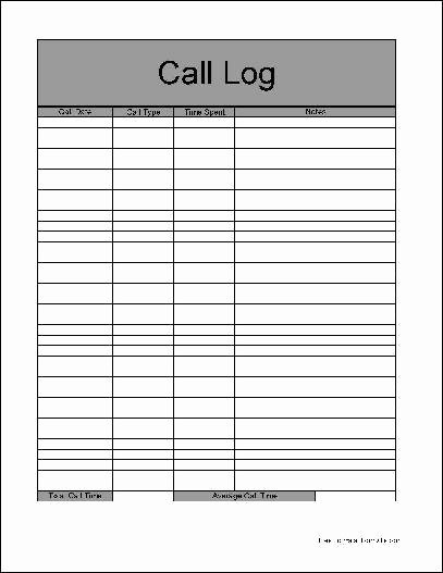 Sales Call Log Template Elegant Call Log Template Excel