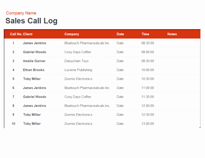 Sales Call Log Template Lovely Sales Call Log and organiser
