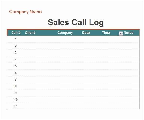 Sales Call Log Template Luxury Call Log Template 11 Download Free Documents In Pdf Word