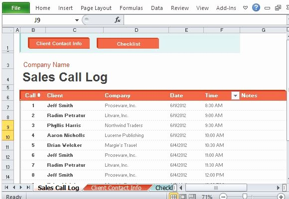Sales Call Log Template Luxury Sales Call Log organizer for Excel