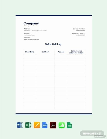 Sales Call Log Template Unique Free Mileage Log for Employee Template Download 313