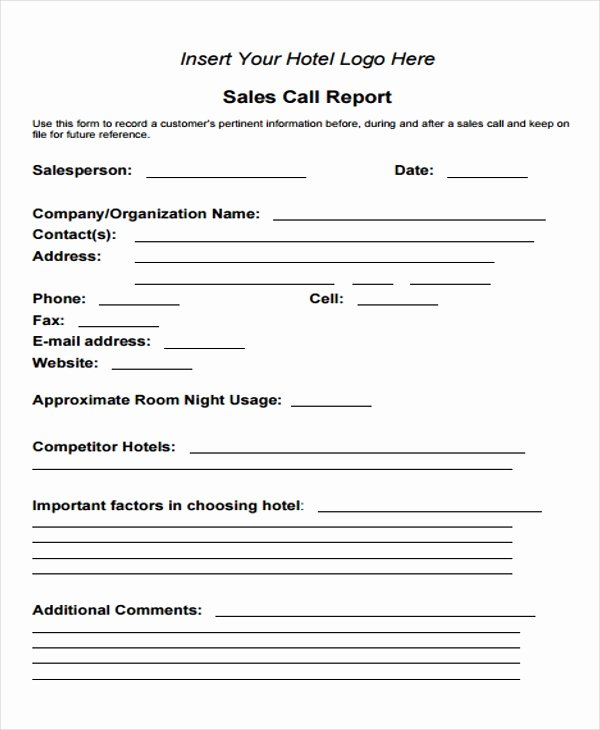 Sales Call Report Template Fresh Free 15 Sales Report form Templates