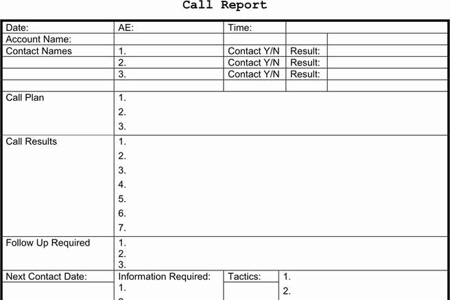 Sales Call Reporting Template Awesome 3 Sales Call Report Template Free Download