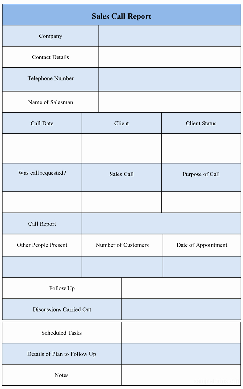 Sales Call Reporting Template Fresh Sales Call Report form Sample forms