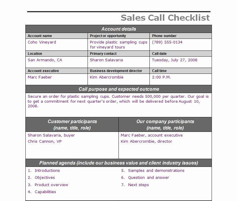 Sales Call Reporting Template Unique Sales Call Checklist