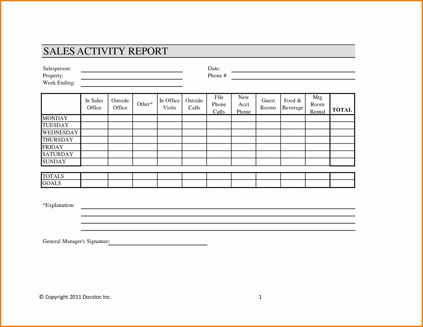 Sales Calls Report Template Beautiful Weekly Sales Report Template