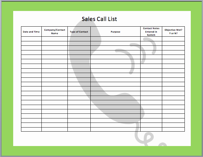Sales Calls Report Template Inspirational List Templates Archives Word Templates
