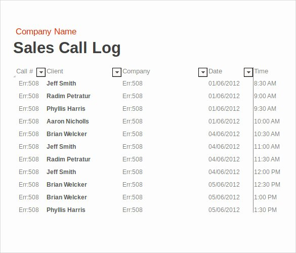 Sales Calls Report Template Lovely Sample Sales Call Report 14 Documents In Pdf Word