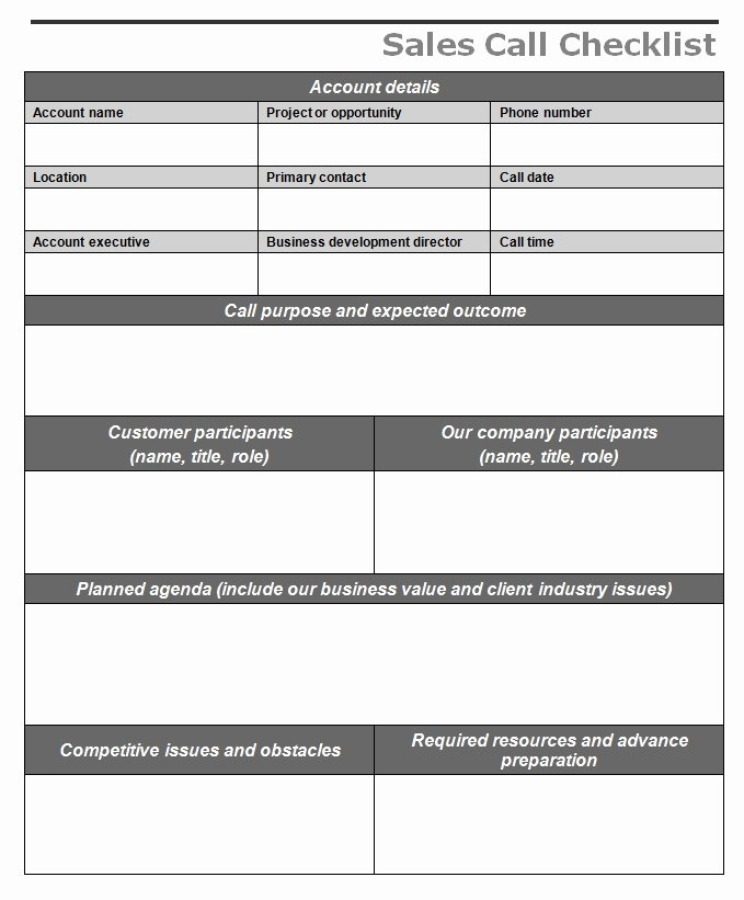 Sales Calls Report Template Luxury Sales Call Checklist