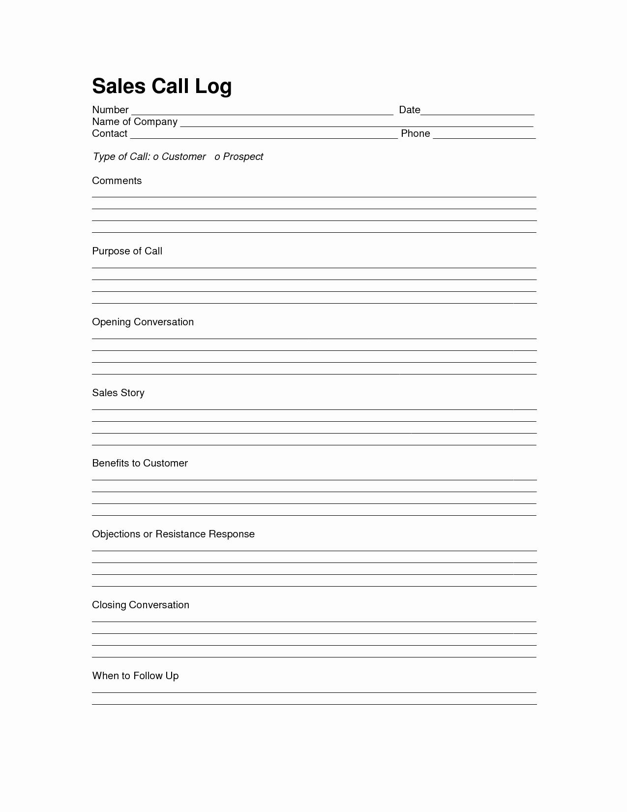 Sales Calls Report Template Luxury Sales Log Sheet Template Sales Call Log Template