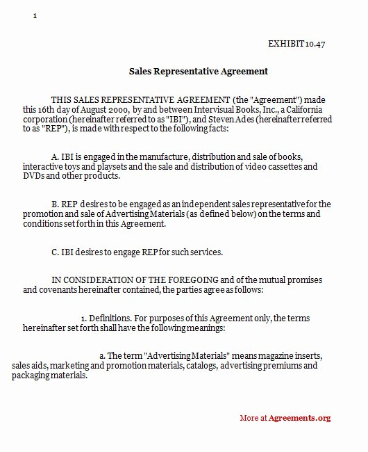 Sales Commission Agreement Pdf Elegant Sales Representative Agreement Download Pdf