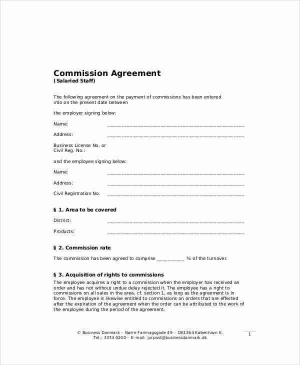 Sales Commission Agreement Pdf Elegant Sample Business Sales Agreement 9 Examples In Word Pdf
