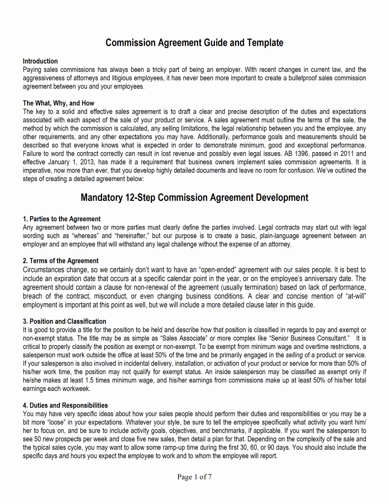 Sales Commission Agreement Pdf Fresh Sales Mission Agreement Template