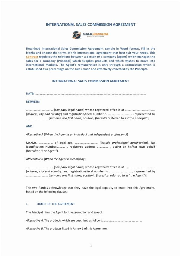 Sales Commission Agreement Pdf Lovely 10 Sales Mission Agreement Samples & Templates Word Pdf Pages