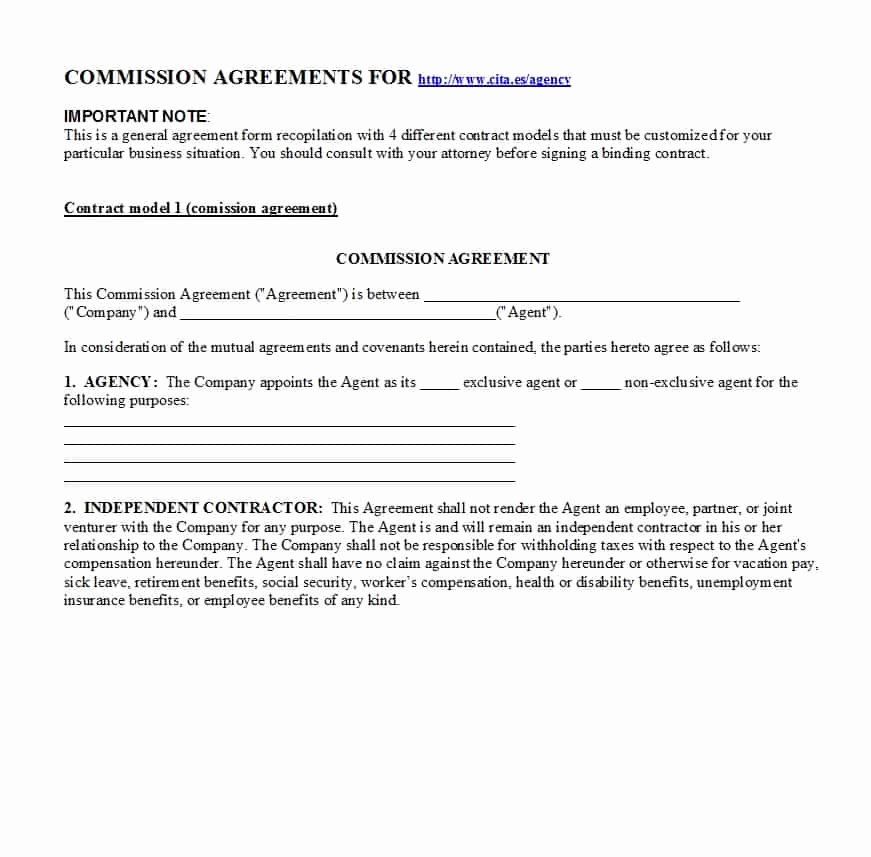 Sales Commission Agreement Pdf New Mission Agreement Template