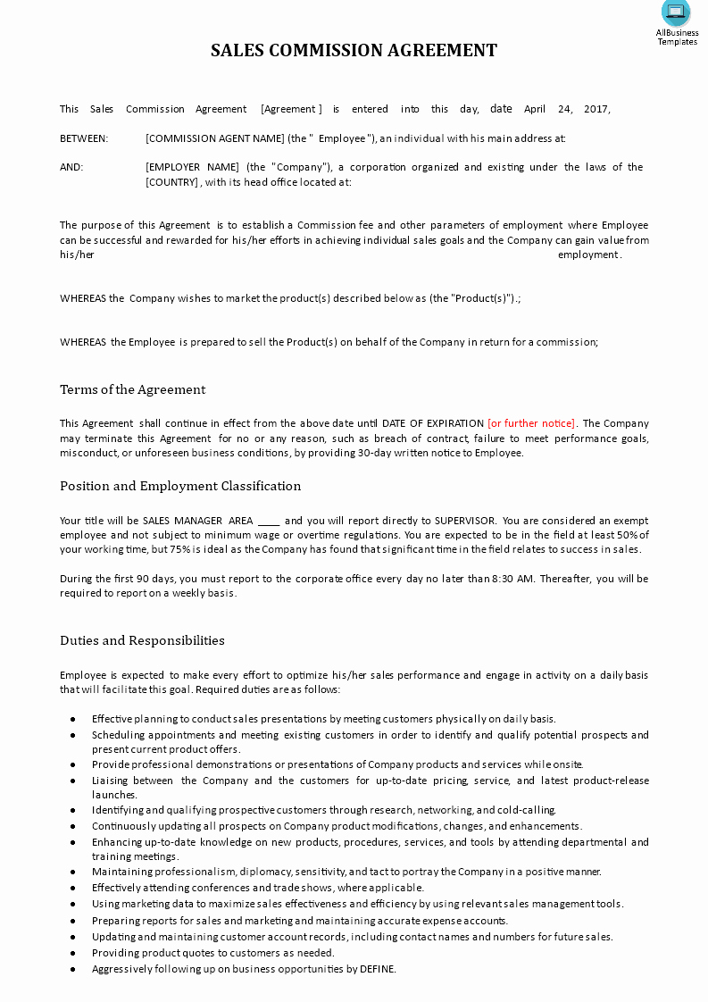 Sales Commission Agreement Template Awesome Sales Mission Agreement Download This Sales Mission Agreement to Sign Between the