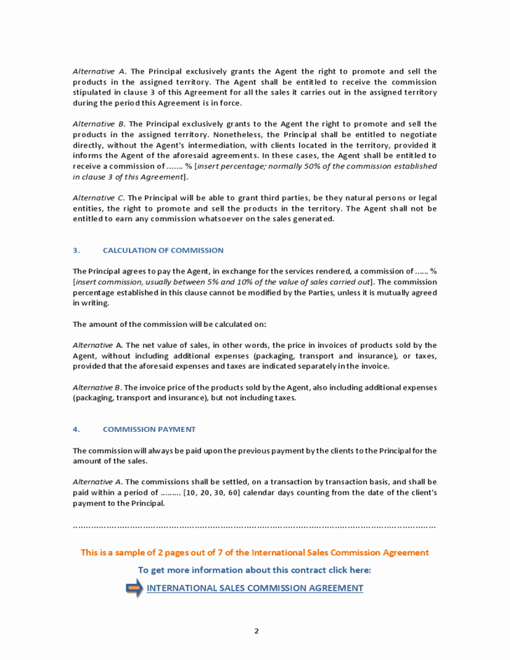 Sales Commission Agreement Template Best Of International Sales Mission Agreement Free Download