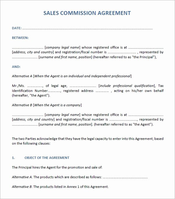 Sales Commission Agreement Template Lovely Sales Agreement 6 Free Pdf Doc Download