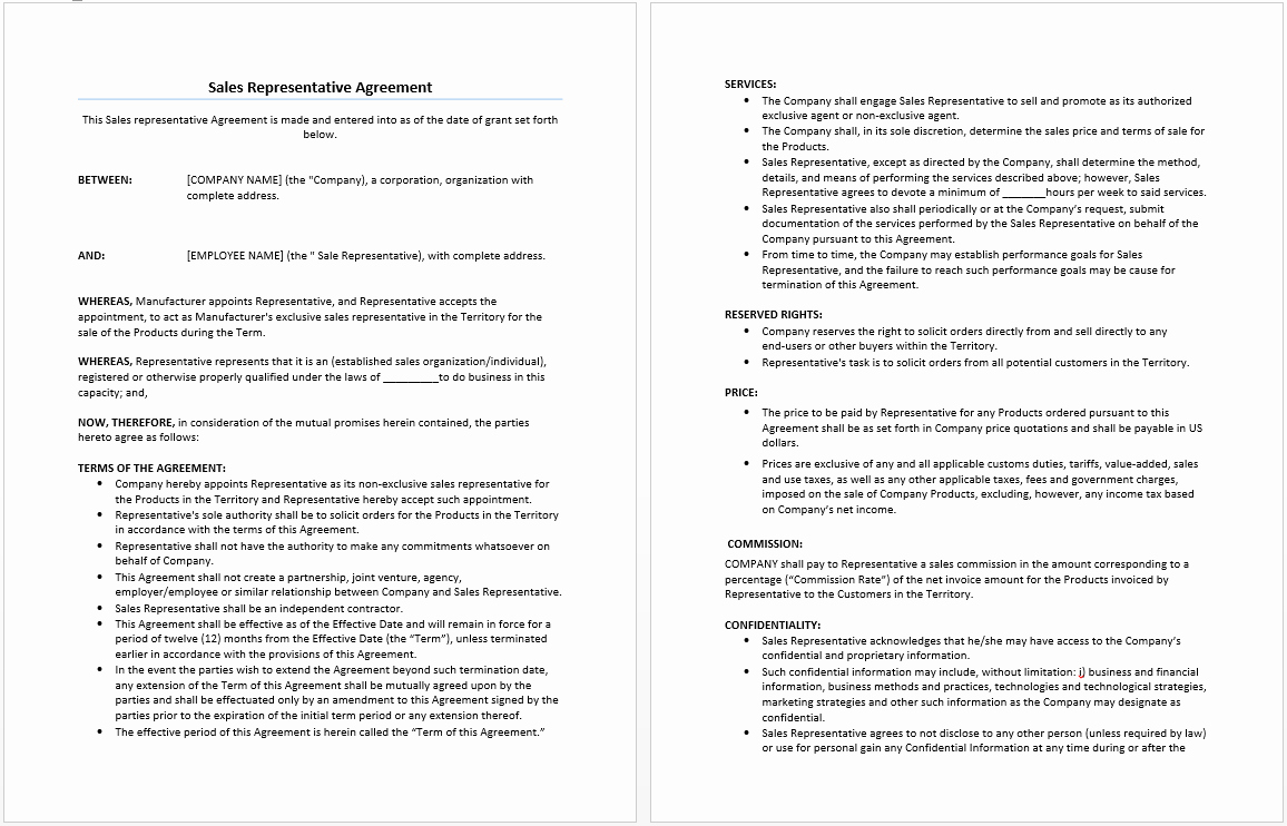 Sales Commission Agreement Template Lovely Sales Representative Agreement Template Microsoft Word Templates