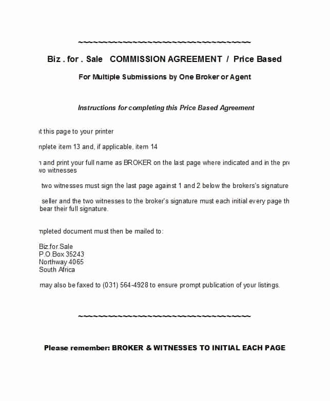 Sales Commission Agreement Template New 36 Free Mission Agreements Sales Real Estate Contractor