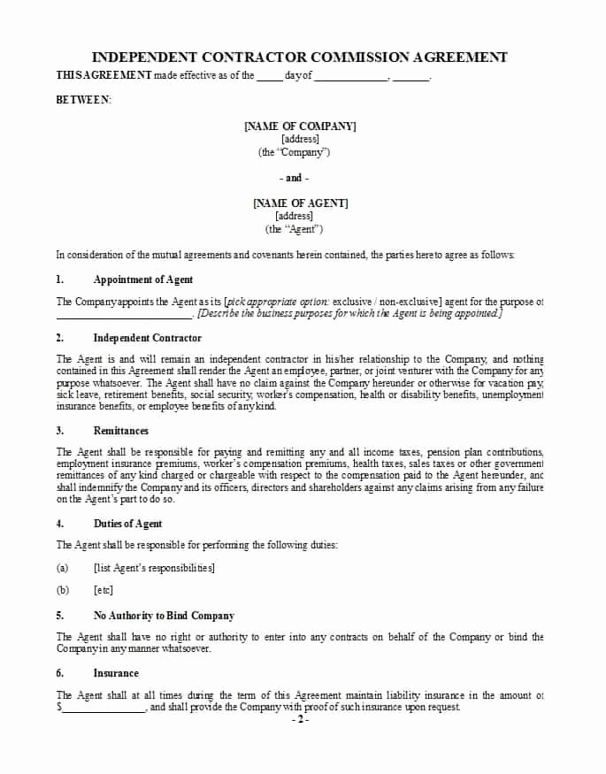 Sales Commission Agreement Template Unique 36 Free Mission Agreements Sales Real Estate Contractor