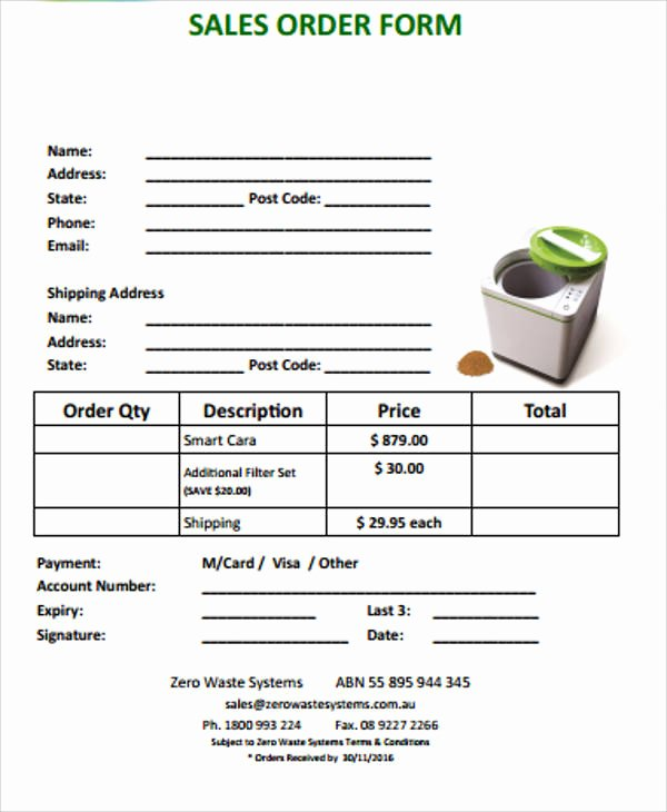 Sales order form Template Best Of Sample Sales order form 11 Examples In Word Pdf