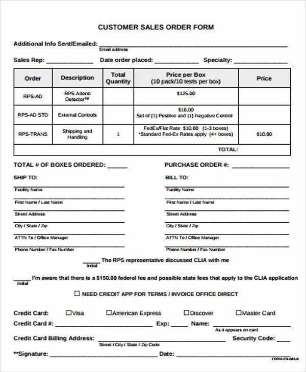 Sales order form Template Elegant Sample Sales order form 11 Examples In Word Pdf