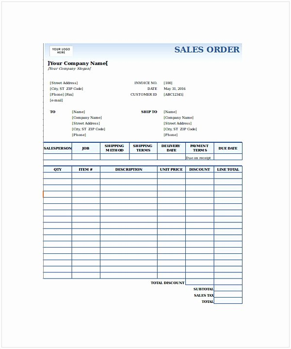 Sales order form Templates Unique order form Template Word