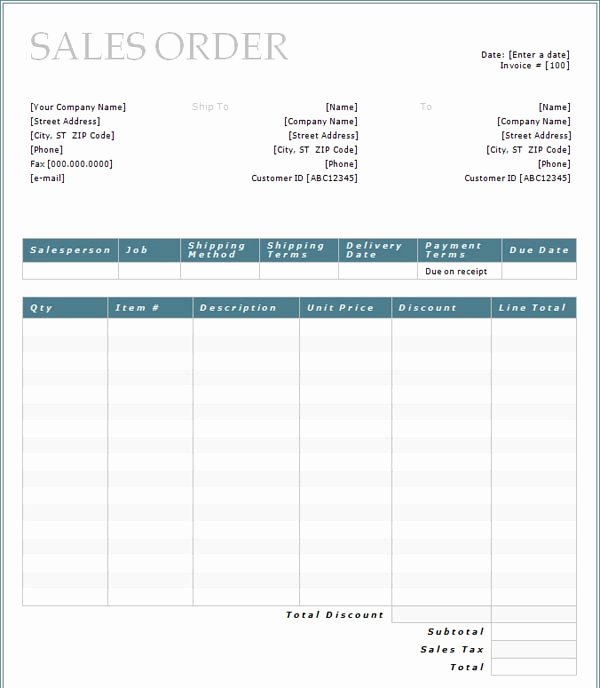 Sales order forms Templates Fresh Purchase order form Template